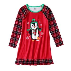 Girl nightgown penguin plaid size M 7/8